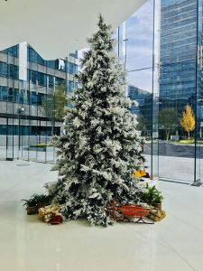 christmas tree in office building foyer
