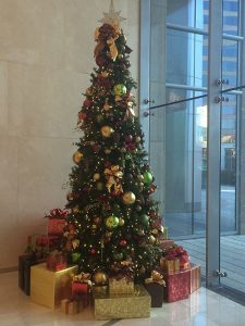christmas tree in office building lobby